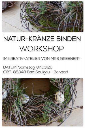 Kranz binden mit Mrs Greenery: Workshop mit Naturmaterialien Kränze binden