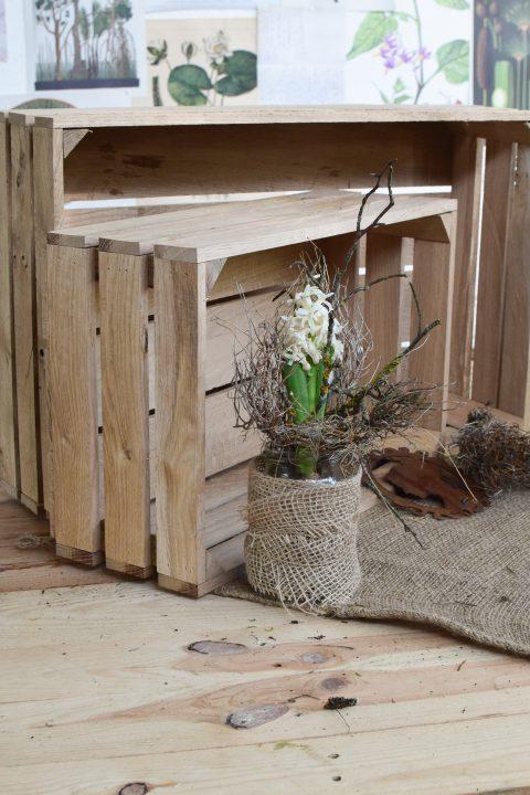 Set Eichenholz Kisten im Antik-Look zum Dekorieren und Aufbewahren