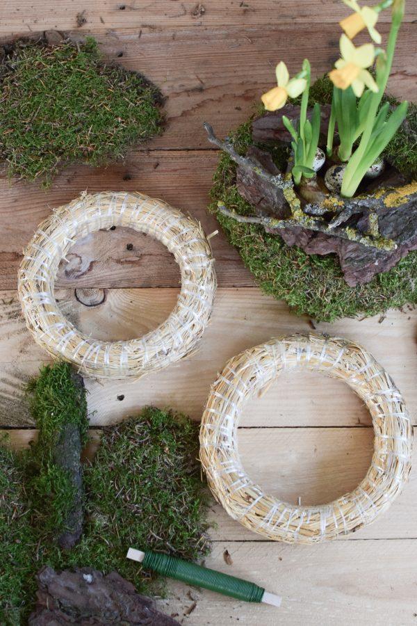 Kreativ Set Mooskränze binden mit Stroh-Rohling, Moos, Bindedraht, DIY Mini-Kränze