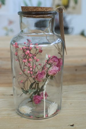 Naturdeko Glas Romantik mit Trockenblumen: getrockneten rosen deko dekoidee-geschenk vom Mrs Greenery Shop