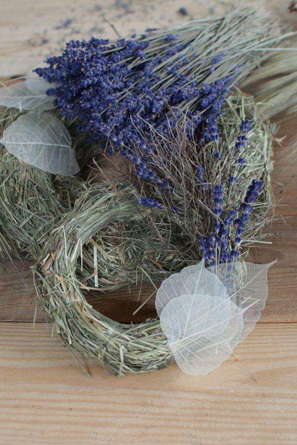 Kreativ-Set Heukranz Lavendel Skelett-Blatt getrocknet selbermachen mit Schneckenhäuser, Gerste, Euphorbia Kranz Kränze DIY Kreativsein mit Mrs Greenery