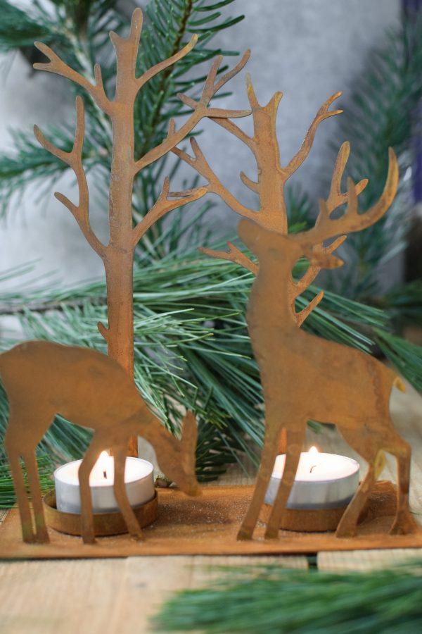 Kerzenhalter mit Teelichte Rost Metall Kerzenständer Advent Weihnachten Deko Hirsch Reh Wald