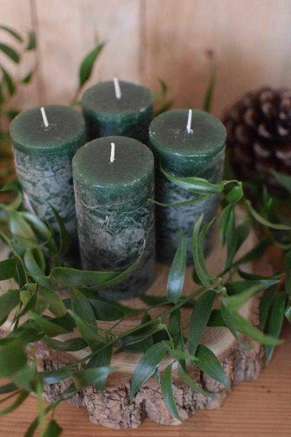 Kerzen für den Adventskranz. Set Winter Weihnachten Advent Kerze kaufen grün