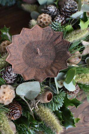 Kerzenhalter für deinen Adventskranz im Antik-Look in Vintage rost für Blockkerzen. Advent Weihnachten Adventsdeko Adventskranz Kerze