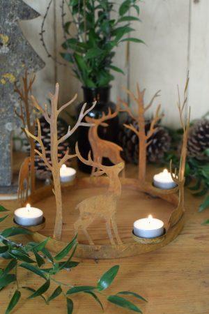 Kerzenhalter und Adventskranz mit Teelichte Rost Metall Kerzenständer Advent Weihnachten Deko Hirsch Reh Wald