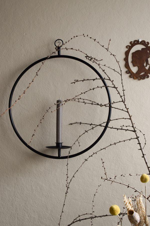 Metallring mit Kerzenhalter zum Hängen für Loopkränze. Perfekt für deine DIY Kränze Kranz Loop Kranzbinden selbermachen Metall schwarz Advent weihnachten