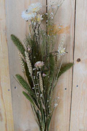 Trockenblumen Arrangement grün weiß Strauß getrocknete Blumen zum Kranzbinden, Kreativsein und Dekorieren Trend Strohblume