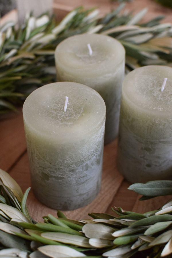 Kerze Winter Weihnachten Advent Kerzen kaufen lindgrün grün