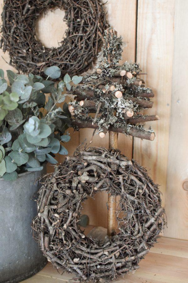 Holzkranz Kranz fertig gebunden Fertigkranz Holz Geäst Kränze Naturdeko natürlich dekorieren