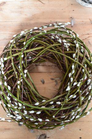 Weidekätzchen-Kranz fertig gebunden. Kranz aus frischen Weiden. Naturdeko mit Kränzen Kranz 45 cm groß