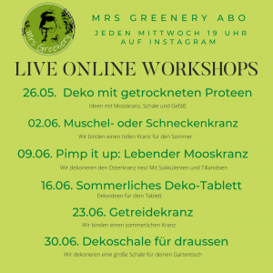 Workshop Themen für Mai und Juni 2021im kreativen Mrs Greenery Abo!