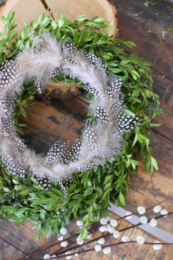 Buchskranz frisch gebunden fertigkranz kranz kraenze dekoidee osterdeko mit perlhuhnfederkranz perlhuhnfedern