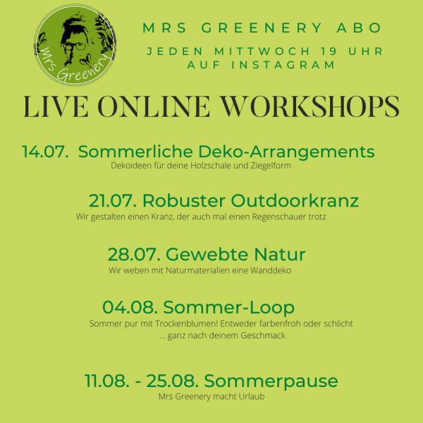 Workshop Themen für Juli und August 2021im kreativen Mrs Greenery Abo!