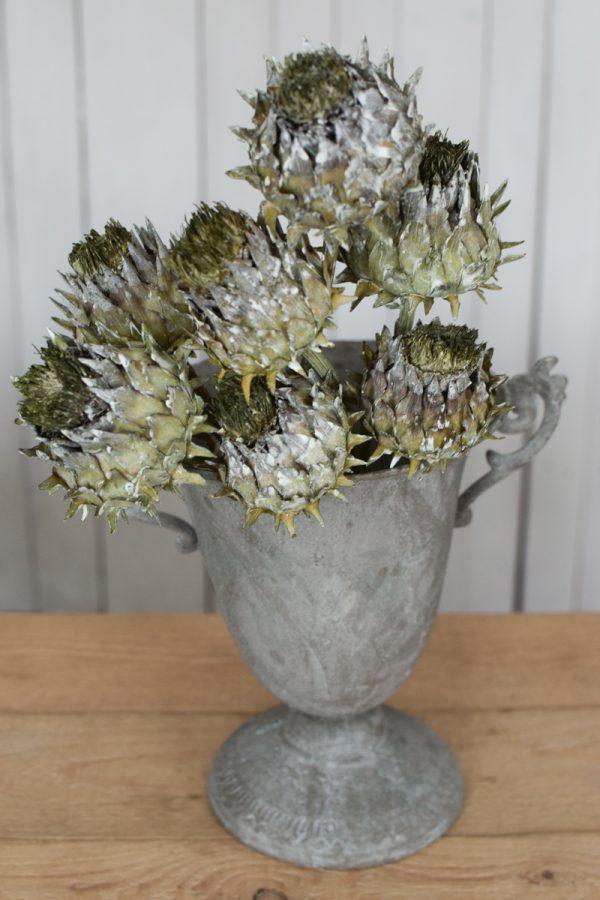 Amphore Pokal Pflanzgefäß Dekoidee Kelch Artischocke getrocknet grün goldig Trockenblumen Artischocken trocken