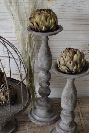 Kerzenständer Kerzenhalter Metall grau Vintage Metallalter für Kerzen Antik Tischdeko Mrs Greenery Shop