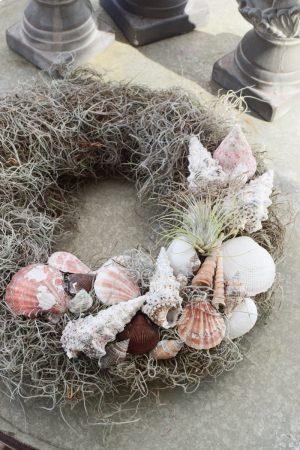Muschelkranz mit Tillandsien binden. Sommerkranz Getreidekranz Herbstkranz inkl. Material Kränze selber machen aus getrockneten Blumen. Trockenblumenkranz, Kränze selbermachen DIY Selberbinden selbermachen