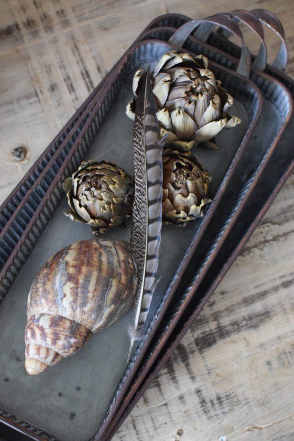 Metalltablett lang Metallschale Dekoschalen aus Metall. 3er Set. Vintage deko Dekoidee Mrs Greenery Shop