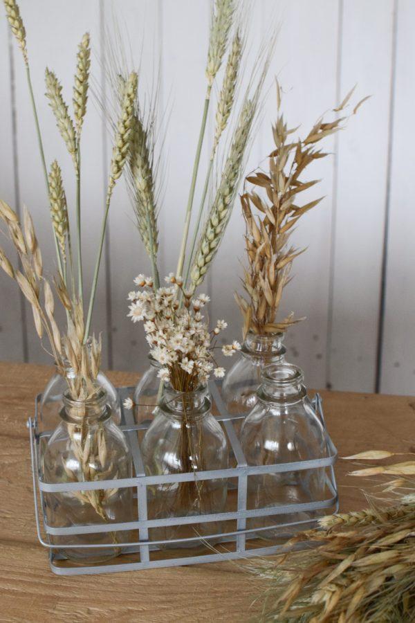 Mini Flaschen im Metallkörbchen Metallgestell Deko für Trockenblumen Aufbewahurng Deko Vase Dekoidee