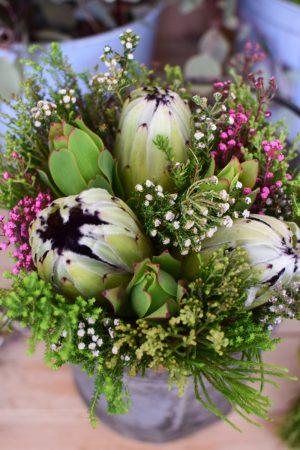 Protea die Trendblume. Proteen trocknen toll ein und können immer wieder dekoriert werden. Bouquet Arrangement Blumenstrauss weiß grün exotisch