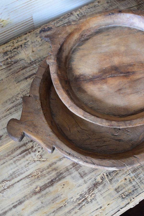 Antikes Holzstablett mit Griffen antikes Einzelstück handgefertigt. Schale aus Holz Tischdeko Dekoidee Mrs Greenery Shop