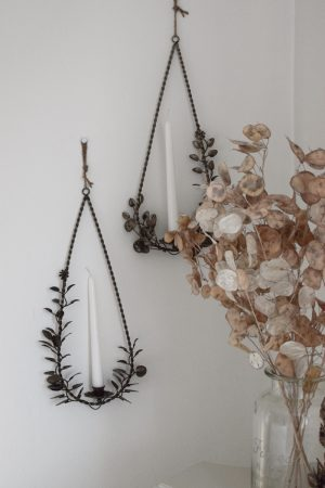 Floraler Kerzenhalter und Teelichthalter mit Metallring zum Aufhängen aus dem Mrs Greenery Shop