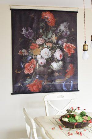 Wandbild Stoffbild Blumen Bouquet Blumenbild Blüten Rosenbild blumenbouquet Naturdeko Wandbild mit Holzleisten im Mrs Greenery Shop bestellen