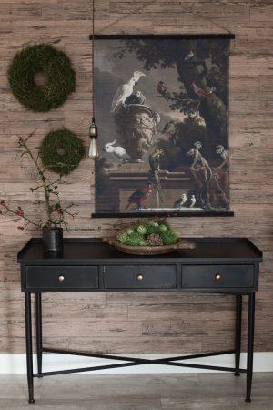 Herbstdeko mit Naturmaterialien. Wandbild Fertigkränze Deko Dekoidee Sideboard Deko Herbstlich dekorieren Cucumis Hagebutten Asparagus Kranz