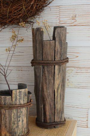 Holz Vase Übertopf aus Holz Treibholz Naturtopf Schale Vase