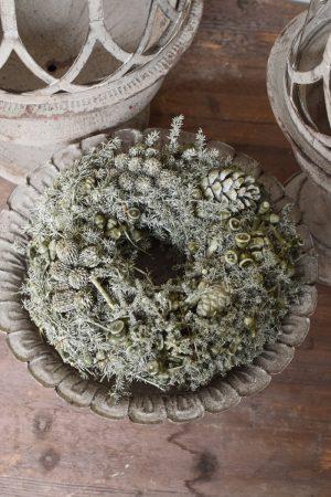 Zapfenkranz gewachst grau grün Wachskranz fertigkranz Kranz Kränze Herbstkranz Winterkranz vom Mrs Greenery Shop